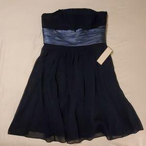 Ann Taylor Strapless Silk Dress in Navy Size 6